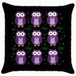 Halloween purple owls pattern Throw Pillow Case (Black) Front
