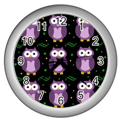 Halloween purple owls pattern Wall Clocks (Silver)