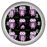 Halloween purple owls pattern Wall Clocks (Silver)  Front