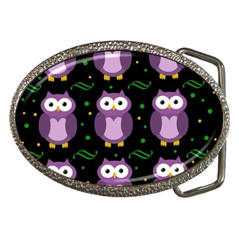 Halloween purple owls pattern Belt Buckles