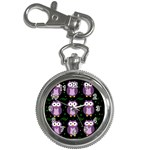 Halloween purple owls pattern Key Chain Watches Front