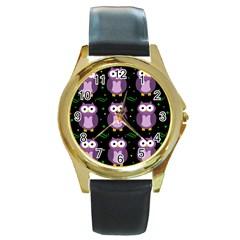Halloween Purple Owls Pattern Round Gold Metal Watch