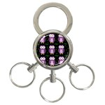 Halloween purple owls pattern 3-Ring Key Chains Front
