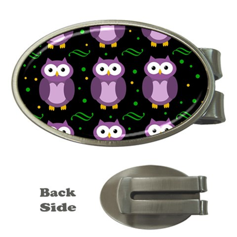Halloween purple owls pattern Money Clips (Oval)