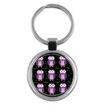 Halloween purple owls pattern Key Chains (Round)  Front