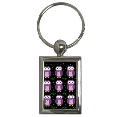Halloween Purple Owls Pattern Key Chains (rectangle)