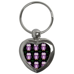 Halloween purple owls pattern Key Chains (Heart)