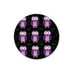 Halloween purple owls pattern Rubber Round Coaster (4 pack)  Front