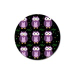 Halloween purple owls pattern Magnet 3  (Round) Front
