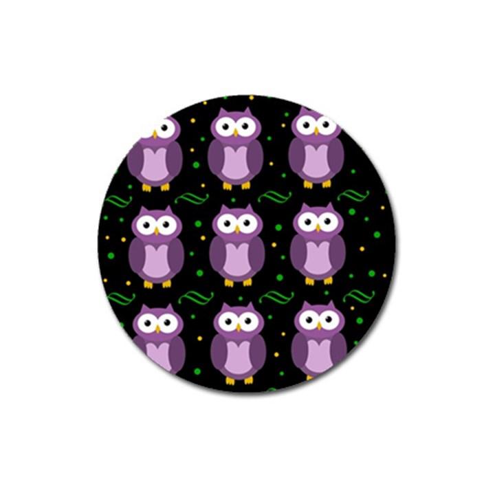 Halloween purple owls pattern Magnet 3  (Round)