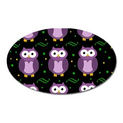 Halloween Purple Owls Pattern Oval Magnet