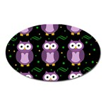 Halloween purple owls pattern Oval Magnet Front
