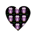 Halloween purple owls pattern Heart Magnet Front