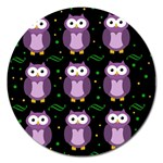 Halloween purple owls pattern Magnet 5  (Round) Front