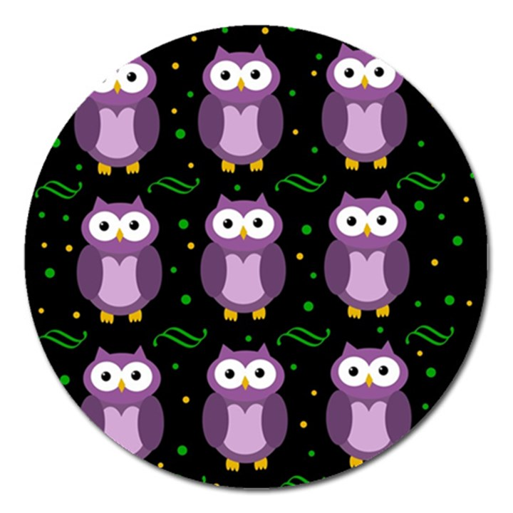 Halloween purple owls pattern Magnet 5  (Round)