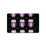 Halloween purple owls pattern Magnet (Name Card) Front