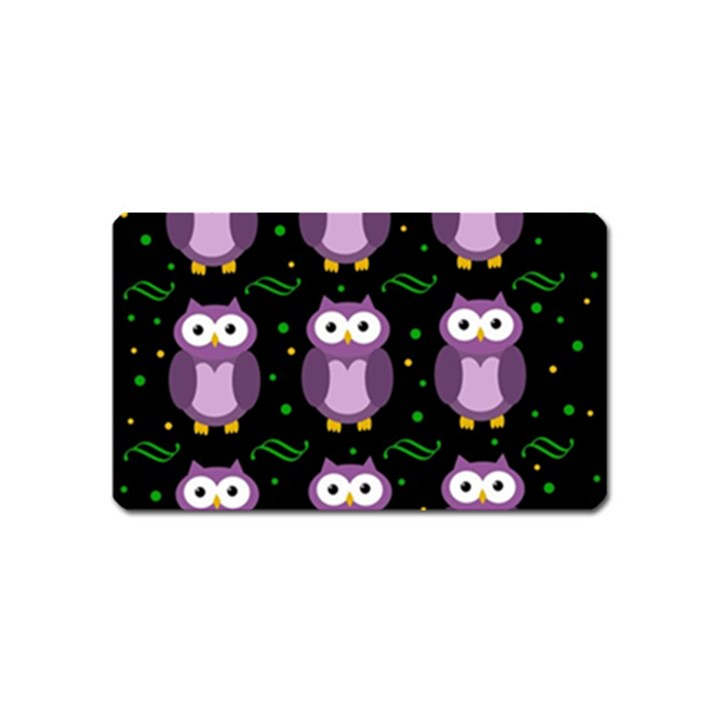 Halloween purple owls pattern Magnet (Name Card)