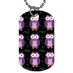 Halloween Purple Owls Pattern Dog Tag (one Side)