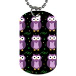 Halloween purple owls pattern Dog Tag (Two Sides) Back
