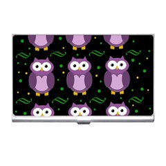 Halloween purple owls pattern Business Card Holders
