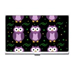 Halloween purple owls pattern Business Card Holders Front