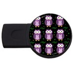 Halloween purple owls pattern USB Flash Drive Round (2 GB)  Front