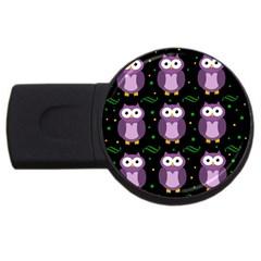 Halloween purple owls pattern USB Flash Drive Round (1 GB)