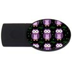 Halloween purple owls pattern USB Flash Drive Oval (1 GB)  Front