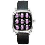 Halloween purple owls pattern Square Metal Watch Front