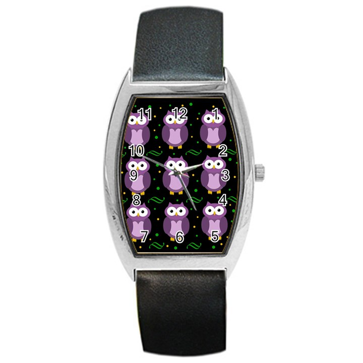 Halloween purple owls pattern Barrel Style Metal Watch