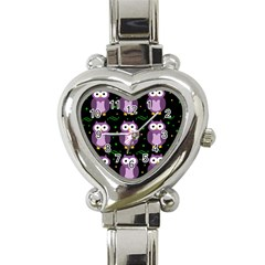 Halloween Purple Owls Pattern Heart Italian Charm Watch