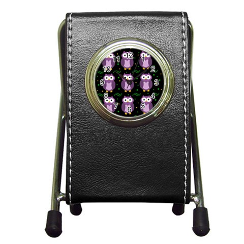 Halloween purple owls pattern Pen Holder Desk Clocks