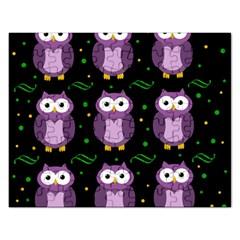 Halloween Purple Owls Pattern Rectangular Jigsaw Puzzl