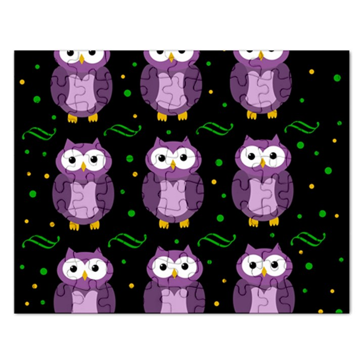Halloween purple owls pattern Rectangular Jigsaw Puzzl