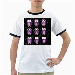 Halloween purple owls pattern Ringer T-Shirts