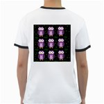 Halloween purple owls pattern Ringer T-Shirts Back