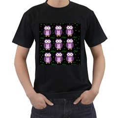 Halloween Purple Owls Pattern Men s T Shirt (black) (two Sided)