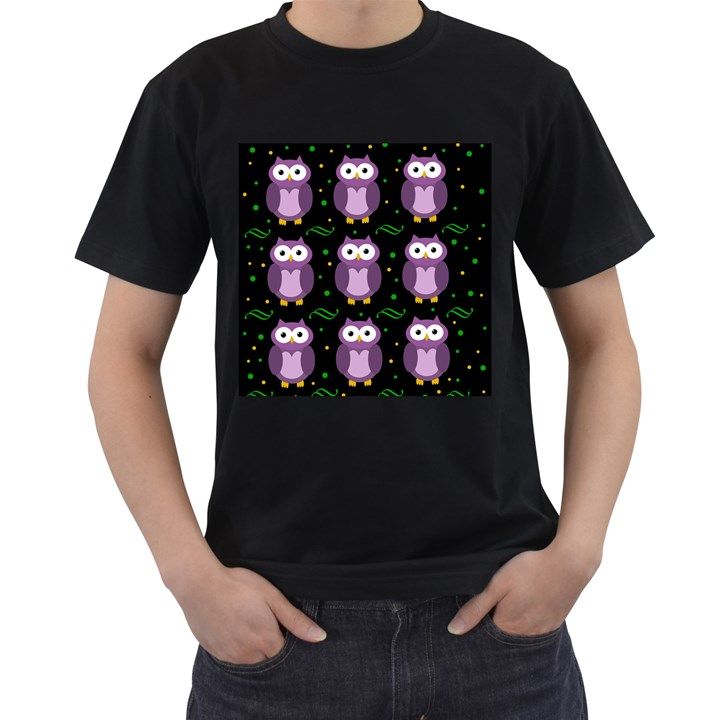 Halloween purple owls pattern Men s T-Shirt (Black) (Two Sided)