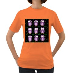 Halloween purple owls pattern Women s Dark T-Shirt