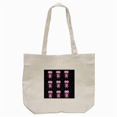 Halloween Purple Owls Pattern Tote Bag (cream)