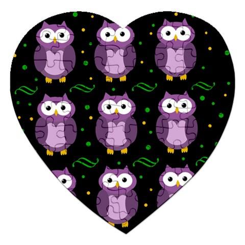 Halloween purple owls pattern Jigsaw Puzzle (Heart)