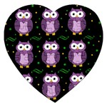 Halloween purple owls pattern Jigsaw Puzzle (Heart) Front
