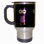 Halloween purple owls pattern Travel Mug (Silver Gray) Left