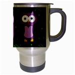 Halloween purple owls pattern Travel Mug (Silver Gray) Right