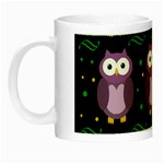 Halloween purple owls pattern Night Luminous Mugs Left