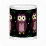 Halloween purple owls pattern Night Luminous Mugs Center