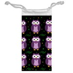 Halloween purple owls pattern Jewelry Bags Back