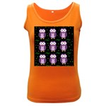 Halloween purple owls pattern Women s Dark Tank Top Front