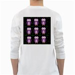 Halloween purple owls pattern White Long Sleeve T-Shirts Back