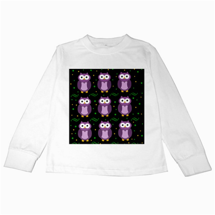Halloween purple owls pattern Kids Long Sleeve T-Shirts